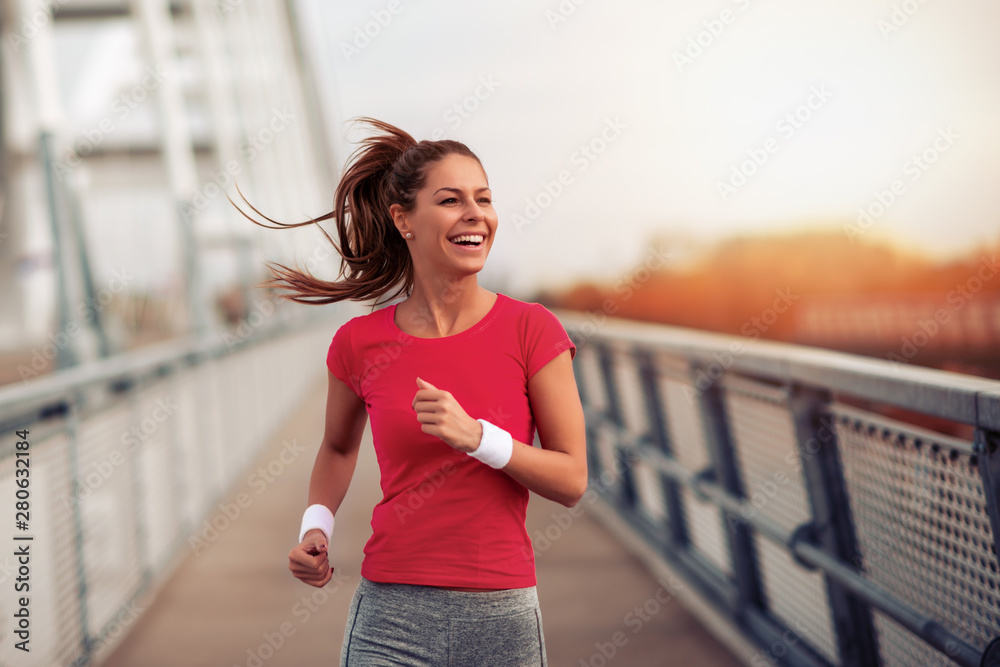 Fototapety, obrazy: Fitness woman running in the city