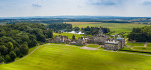 Castle Howard Stately Home Near York, Aerial Banner Panorama With Gardens