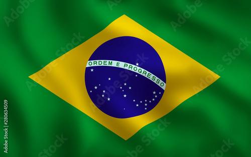 Obraz na plátně  Brazilian Flag Image Full Frame