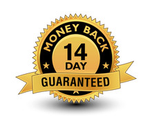 High Quality Golden 14 Day Money Back Guaranteed Badge, Sign, Seal, Label, Stamp With Ribbon.