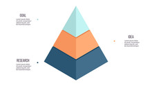 Business Infographics. Pyramid Chart With 3 Steps, Options, Layers, Levels. Vector Diagram.