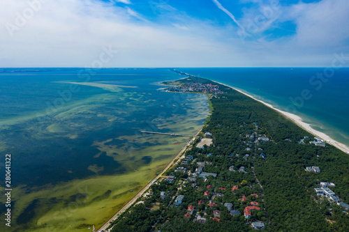 Obraz Aerial view of Hel Peninsula in Poland, Baltic Sea and Puck Bay (Zatoka Pucka) Photo made by drone from above. - fototapety do salonu