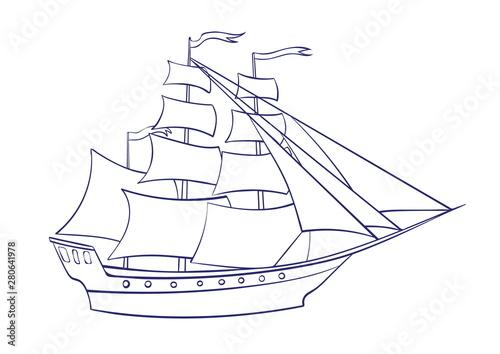 Fényképezés Vector outline sailing ship