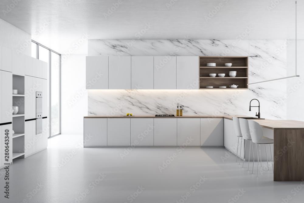 Fototapeta White marble kitchen, white counters and island