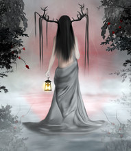 Turned Back Fairy With Horns And Taking A Lantern In A Foggy Scenery