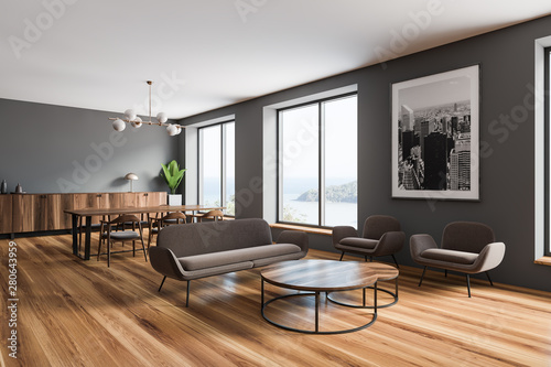 Foto auf AluDibond Indien Grey living room and dining room corner