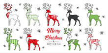 Merry Christmas Greeting Card Red And Green With Modern Doodle  Reindeer. Vector Illustration.
