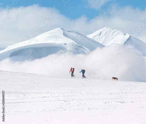 Touring skiers in the mountains