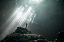 Girl Stands Under The Rays Of ...