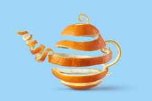 Teapot Made Of Spiral Orange Peel