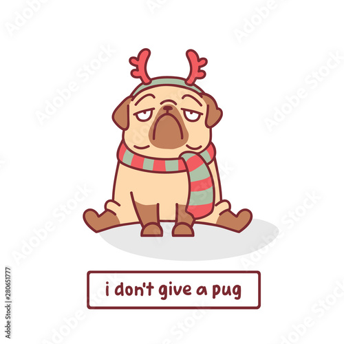 Photo cartoon pug dog character in scarf and christmas deer horn vector illustration w