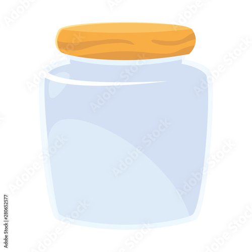 Photographie glass jar on white background