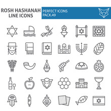 Rosh Hashanah Line Icon Set, Shana Tova Symbols Collection, Vector Sketches, Logo Illustrations, Israel Signs Linear Pictograms Package Isolated On White Background.