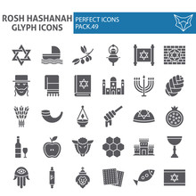 Rosh Hashanah Glyph Icon Set, Shana Tova Symbols Collection, Vector Sketches, Logo Illustrations, Israel Signs Solid Pictograms Package Isolated On White Background.