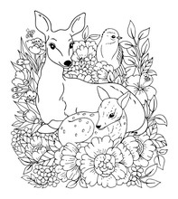 Vector Illustrations Zentangl. Family Of Deer And Bird Among The Flowers. Coloring Book. Antistress For Adults And Children. Work Done In Manual Mode. Black And White.