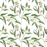 Seamless floral pattern with eucalyptus branches. Watercolor illustration. - 280655160