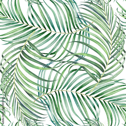 Fotobehang Tropische bladeren Seamless pattern with palm branches. Watercolor hand drawn illustration.