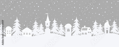 obraz lub plakat Christmas background. Fairy tale winter landscape. Seamless border. There are fantastic houses and fir trees on a gray background. White silhouettes and snowing in the image. Vector illustration