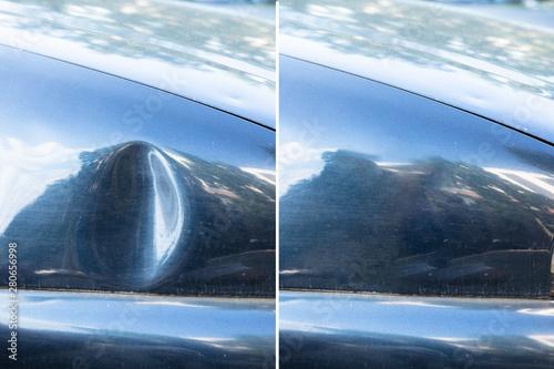 Obraz na plátně Car dent repair before and after