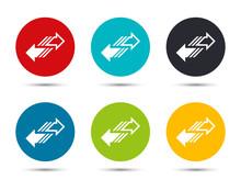 Transfer Arrow Icon Flat Round Button Set Illustration Design