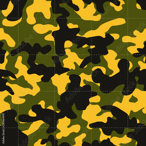 Photo  Seamless textured textile green yellow and black military fashion camouflage pat