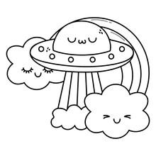 Kawaii Of Ufo Cartoon Design