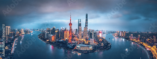 Photo  Shanghai skyline at night