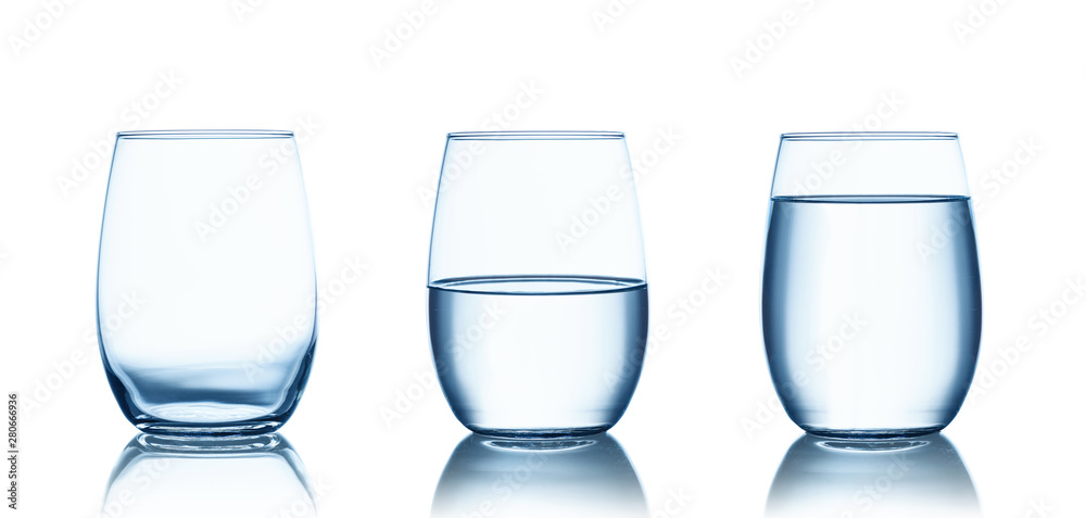 Fototapety, obrazy: Empty,half and full water glasses . Isolated on white