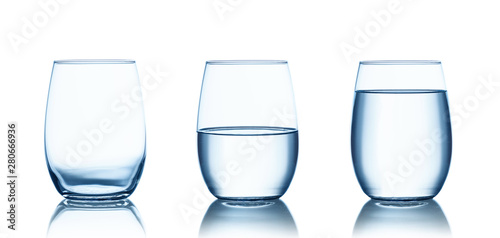 Pinturas sobre lienzo  Empty,half and full water glasses . Isolated on white