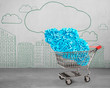 Leinwanddruck Bild Big data and cloud computing concept. Shopping cart with cloud of blue letters and numbers, side view, on cityscapes doodles of concrete wall background.