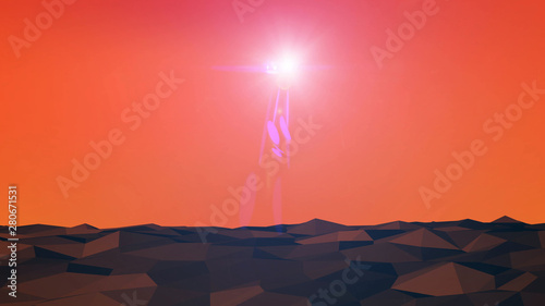Landscape Planet Technology Wireframe Polygon Geometric Illustration. Abstract Bright Light Glow Sun Flare On Dark Night Sky Texture Background.