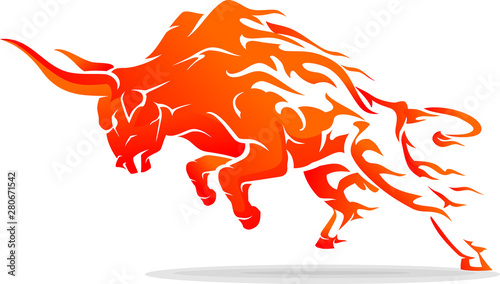 Canvas-taulu Leaping Bull Rage Fiery Abstract