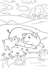 Coloring Pages. Mother Pig With Her Little Cute Piglet Near The Pondr The Pond.