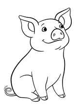 Coloring Pages. Little Cute Piglet Sits And Smiles.