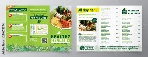 Obraz Food Delivery Flyer Pamphlet brochure design vector template in A4 size Tri fold. Healthy Meal, Restaurant menu template - fototapety do salonu