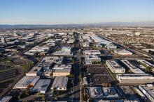 Aerial Of Industrial Buildings Along South Douglas Street In El Segundo Near LAX And Los Angeles, California.