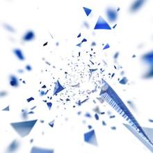 飛び散る青い破片の渦