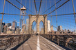 Brooklyn bridge at the morning, USA downtown skyline, Architecture and building with tourist concept