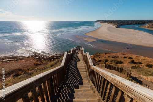 Poster Light pink Stair view towards the ocean at Port Noarlunga, South Australia.