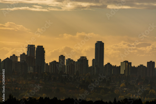 Fototapety, obrazy: Downtown silhouette on sunset cloudy sky background