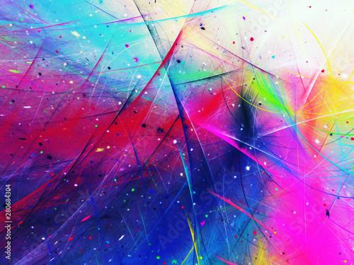 blue abstract fractal background 3d rendering illustration - 280684304