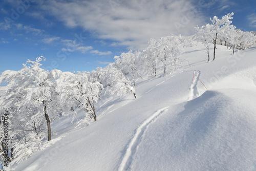 Obraz na plátně  新雪輝く八海山の尾根