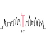 Fototapeta Nowy Jork - New York linear silhouette. Vector design template for USA Patriot Day 9/11.