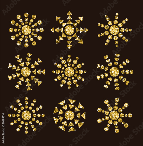 Pinturas sobre lienzo  Golden sun icons with rays from circles, triangles