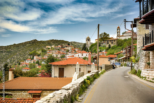 The main road and view to Dimitsana village Canvas Print