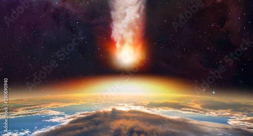Attack of the asteroid (meteor) on the Earth Elements of this image furnished b Canvas Print