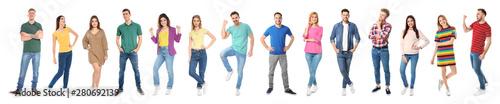 Obraz Collage of emotional people on white background. Banner design - fototapety do salonu