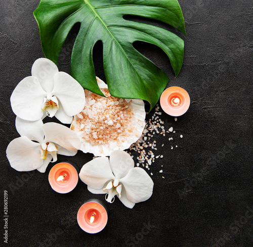 Photo sur Toile Pierre, Sable Natural spa ingredients with orchid flowers