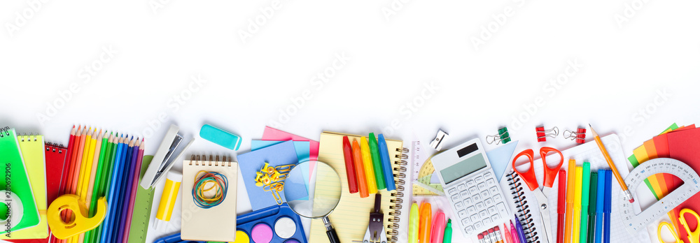 Fototapety, obrazy: School supplies on white background. Back to school concept..