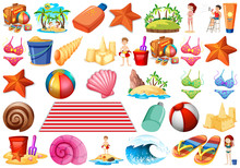 Beach Theme Object Set With St...